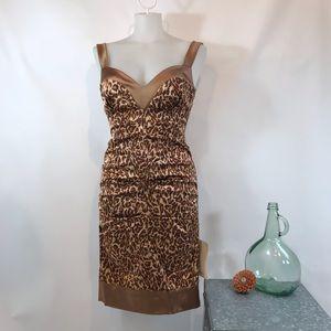 NWT NICOLE MILLER Cheetah Print Ruched Dress